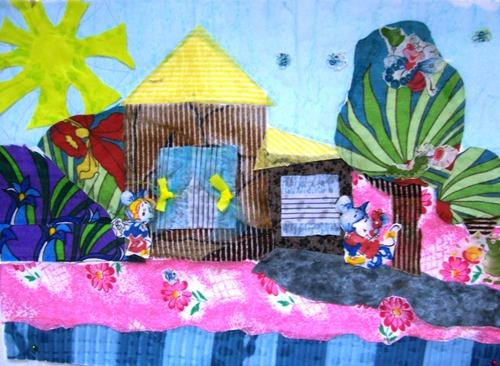 Коллаж из ткани для детей